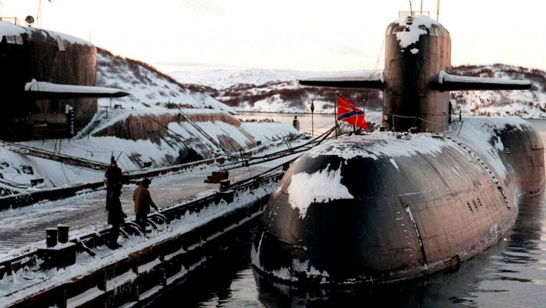 Russian nuclear submarines are shown in their Arctic base of Severomorsk 1100x620