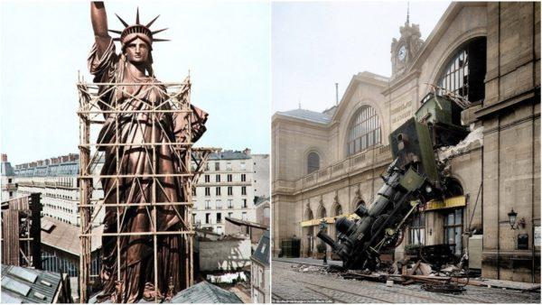 Kur Statuja e Lirisë ndodhej në Paris dhe simbolet naziste përballë kullës Eiffel, marrin jetë fotografitë historike