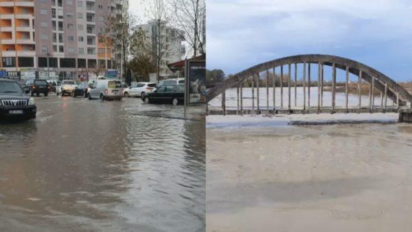 Situata e reshjeve: Përmbytje rrugësh në Vlorë dhe tokash në Rrogozhinë