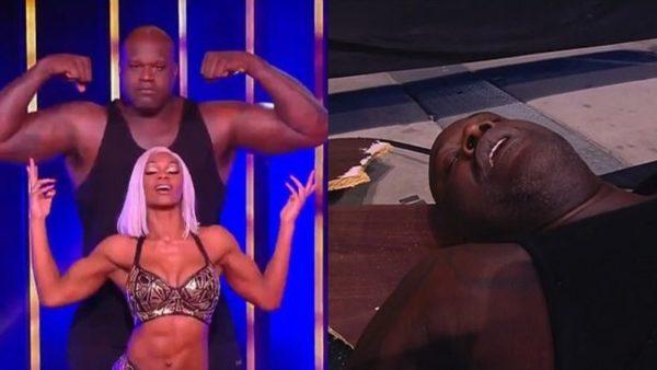 """Debutimi i  Shaquille O'neal në """"Wrestling"""", largohet me barelë pas fluturimit mbi tavolina"""