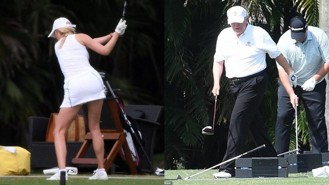 Ivanka stërvitet për t'u bërë si Donald Trump në golf 1100x620