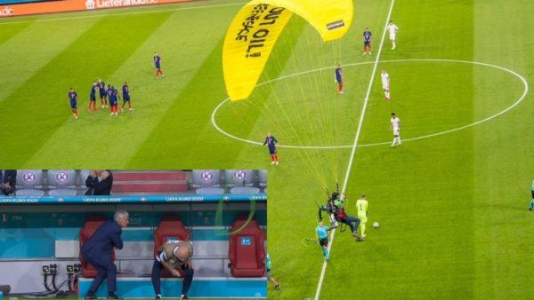 Incidenti që nuk u pa, hyri me parashutë para ndeshjes Francë-Gjermani dhe lëndoi dy persona