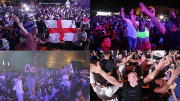 """Një copë Britanie në qendër të Tiranës, tifozët e Anglisë dhe Skocisë """"tërbohen"""" në sheshin """"Skënderbej"""""""